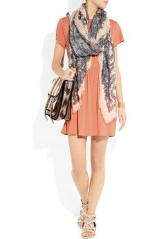 casual look - gathered stretch jersey dress with alexandra mcqueen scarf, proenza shoulder bag and leather sandals