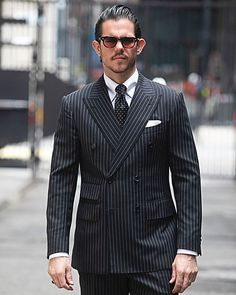 What\'s black and white and bold all over?... A double breasted, bespoke, black and white pin stripe suit with peak lapels.   #menswear #mensstyle #suit #bespoke #suits #mensfashionpost #mensweardaily #fashionphoto #mensfashions #customclothing #customshirt #mensfashionweek #suitstyle #nyfashionweek #mensfashiontips #beautifulmenswear #menswearstyle #suitlife #luxuryfashion #customclothes #menswearfashion #mensfashionguide #customtailoring #luxurylife