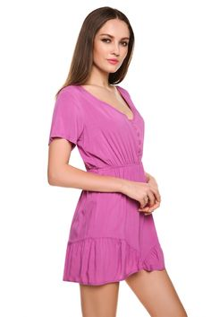 Material: Polyester    Color: Purple    Collar: V-neck    Pocket: No    Sleeve: Short sleeve    Style: Jumpsuit   Fit style: Fitted    Zipper: No    Pattern: Solid   Front closure: Buttons   Waist type: Elastic waist    Length style:Short    Occasion: Casual, Party, Sports    Garment Care: Hand-wash and Machine washable    Unique style, make you more beautiful, fashion, sexy and elegant.   Asian Size  US Size  UK Size  EU size  AU Size  Shoulder  Sleeve  Bust  Waist  Thigh  Length S XS(4)...