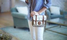 Small Cream Ikat Satchel from The Little Market