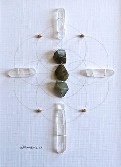 MAKE A WISH  framed scared crystal grid  by CrystalGrids on Etsy, $95.00