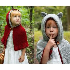 Perfect for this year's holiday knitting!Every sweet Red Riding Hood has a big, bad wolf hiding inside. This reversible caplet appeals to the gentle, whimsical child, as well as the adventurous spirit who'd rather to bare her ferocious teeth. And who says you can't be both? There is nothing more fun than living a fairytale to its fullest.Find the Adult version here!The sample was knit in Swan's Island Organic Washable DK. A substitute yarn is shown below. The gauge for this garment should…