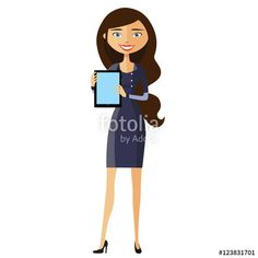 Vector: Businesswoman showing something important on the tablet vector cartoon illustration.