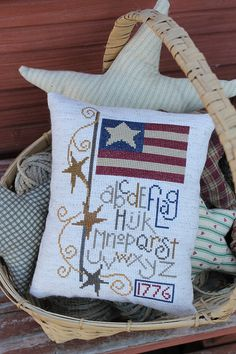 Completed Cross Stitch Primitive Americana Flag Sampler Pillow   - Made to Order Home Decor