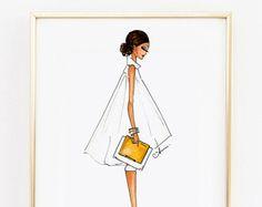 Illustrazione di moda nero e oro foglia di anumt su Etsy