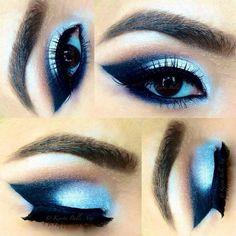 Different hues of blue eyeshadow are used for this dramatic cut crease. Use thick and long false lashes for the perfect eyes for night out.