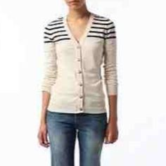 BDG UO striped cardigan Size large cream colored striped cardigan with buttons. Perfect for fall season ❤️ urban outfitters Urban Outfitters Sweaters Cardigans