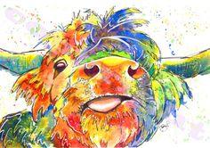 Highland Cow Scottish Fabulous Print of Original by JaPeyArtnStuff