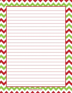 Printable Christmas chevron stationery and writing paper. Multiple versions available with or without lines. Free PDF downloads at http://stationerytree.com/download/christmas-chevron-stationery/