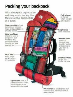 How to Correctly Pack Your Pack Backpack Outdoor Survival - Camping and Hiking - Backpack Hiking, Backpacking Backpacking Tips, Hiking Tips, Camping And Hiking, Hiking Gear, Hiking Backpack, Camping Gear, Camping Hacks, Outdoor Camping, Trekking Gear