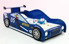 Blue Kids Racing Car Bed Single Size New Boys Race Car Formula 1