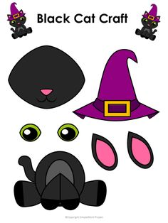 Printable Halloween Black Cat Craft with FREE Template - Crafts and Activities for kids! Halloween Cat Crafts, Halloween Crafts For Toddlers, Halloween Activities, Diy Halloween Decorations, Toddler Crafts, Halloween Parties, Cat Template, Daycare Crafts, Printable Crafts