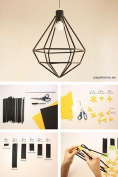 ¿Fan del estilo geométrico? ¡Esta lámpara DIY te encantará! No olvides agregar un foco LED para que tu lámpara dure más tiempo.