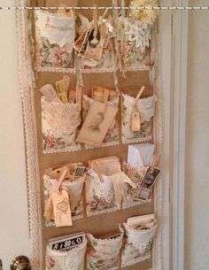 Craft Room Door Pocket Organizer - shabby chic way to organize craft and sewing supplies - via mydesertcottage Shabby Chic Crafts, Vintage Crafts, Shabby Chic Style, Shaby Chic, Craft Room Storage, Craft Organization, Organizing, Craft Rooms, Diy Storage