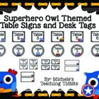 Here is a fun set of superhero owl themed table signs and desk tags. This set contains a few different choices. There are round black and white che...