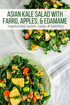 Asian Kale Salad with Farro, Apples, and Edamame - Slender Kitchen. Works for Clean Eating, Gluten Free, Vegan, Vegetarian and Weight Watchers® diets. 270 Calories.