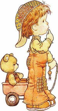 sarah kay - boy with teddy in wagon Sarah Key, Holly Hobbie, Vintage Drawing, Tatty Teddy, Teddy Bear, Digi Stamps, Illustrations, Cute Illustration, Vintage Cards