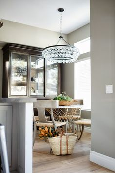 Greige Design - dining rooms - Ochre Arctic Pear Chandelier, espresso hutch, espresso cabinet, hutch with glass doors, dining room chandelie...