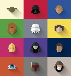 Star Wars Flat Design/Long Shadow Design Icon Set by Filipe Carvalho Icon Design, Flat Design Icons, Web Design, Flat Icons, Graphic Design, Design Layouts, Star Wars Poster, Star Wars Icons, Iconic Characters