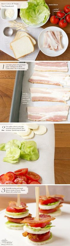 BLT Tea Sandwiches INGREDIENTS (cut into circles): Bacon, bread, tomatoes, lettuce, mayo. (skewer and serve) Snacks Für Party, Appetizers For Party, Appetizer Recipes, Recipes Dinner, Lunch Recipes, Party Favors, Tapas, Christmas Party Food, Christmas Appetizers