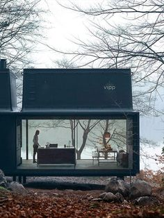 The Vipp Modern Steel Shelter: This 55 square meter modern steel cabin was born in a rugged landscape framed by naked trees and a silent lake that mirrors in the sky frame window facade. (The link has lots more photos.)