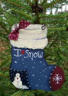Christmas Stocking Ornament Painted Wooden by CarolsCountrySeasons