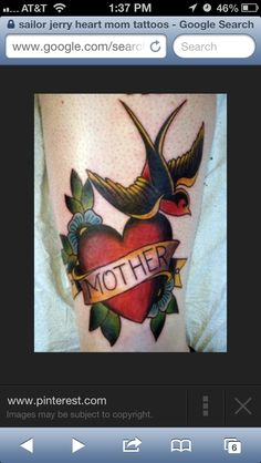 Traditional Mom/banner/heart tattoo