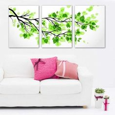 3 Piece Green Leaves Split Canvas Picture of Art 40 x 50 cm Wall Canvas Artwork, Framed, Ready to Hang, All Images on Large, Real Wood Frames #13-417