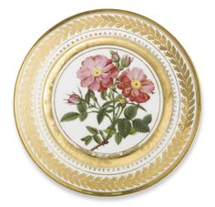 A RUSSIAN PORCELAIN PLATE, YUSUPOV MANUFACTORY, ARKHANGEL'SKOE, 1826 the cavetto painted with blossoming pink roses on a leafy branch surrounded by buds after Pierre-Joseph Redouté, the border with a continuous stylized foliate wreath. inscribed in gilt letters L'Eglantine de la Reine Elisabeth at the base of the cavetto and on the reverse, also in gilt letters, Archangelski 1826 and Tome 2, p.1 diameter 9 1/8 in.  Estimate  15,000 — 25,000  USD  LOT SOLD. 30,000 USD