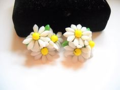 Excited to share the latest addition to my #etsy shop: Vintage Earrings Germany Glass Beaded Flowers Floral Screw Back Earrings White Yellow Green Mid Century Statement Earrings https://etsy.me/2Hin9LT #jewelry #earrings #white #brass #no #women #yellow #floral #christ