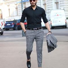 new fashion Simple style Grey top instead of blue and black belt and shoes instead of brown Black jeans with blue shirt Needs different belt imo Ideas for moda hombre casual outfits belts Discover plus size clothing for men at Formal Attire For Men, Formal Dresses For Men, Formal Shirts For Men, Formal Trousers For Men, Semi Formal Outfits, Men Formal, Men Shirts, Indian Men Fashion, Mens Fashion Wear