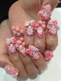 Kawaii Nail Art, Cute Nail Art, Beautiful Nail Art, Colored Acrylic Nails, Best Acrylic Nails, Stylish Nails, Trendy Nails, Garra, Really Cute Nails