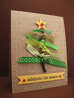 christmas card with twig and ribbon