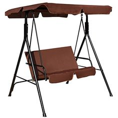 Amazing offer on Tangkula 2 Person Canopy Swing Weather Resistant Glider Hammock Porch Garden Backyard Lawn Cushioned Steel Frame Loveseat Swing Chair Bench Seat Patio Furniture(Coffee) online - Nanakoshopping Hammock With Canopy, Canopy Swing, Patio Canopy, Canopy Outdoor, Garden Canopy, Eno Hammock, Hammock Chair, Hammock Stand, Hammocks