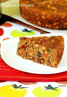 Eggless Christmas fruit cake recipe – Moist,soft,light and delicious eggless fruit cake made without alcohol. This simple recipe is one of the most quick & easiest that anyone can make with great success. Most fruit cake recipes call for soaking the dried Dried Fruit Cake Recipe, Eggless Fruit Cake Recipe, Fresh Fruit Cake, Eggless Recipes, Eggless Baking, Fruit Recipes, Cooking Recipes, Eggless Desserts, Dairy Recipes