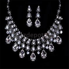 Wedding Bridesmaid Formal Jewelry Set Crystal Rhinestone Necklace Earrings