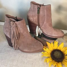 Vince Camuto Boho Taupe Suede Fringe Ankle Boots Vince Camuto Cool Taupe Fringe Boho Festival Boots!  Showroom sample never worn outside. A couple of scuffs as photographed! Vince Camuto Shoes Ankle Boots & Booties