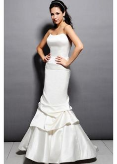 Glamour Mermaid with beads on the waist in taffeta fabric wedding gown  $122.20