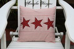 Ticking Pillow Cover, Americana Decor, Stars and Stripes, 4th of July