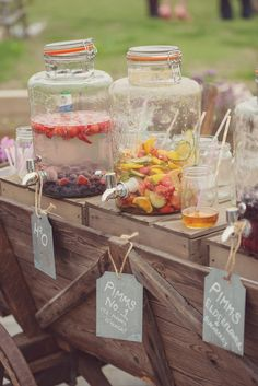 Kilner Drinks Dispensers full of Cocktails and Refreshments | Rustic Wedding | DIY Decor | Wedding at Home | Marquee Reception | | Image by Rebecca Douglas Photography | http://www.rockmywedding.co.uk/vic-alex/