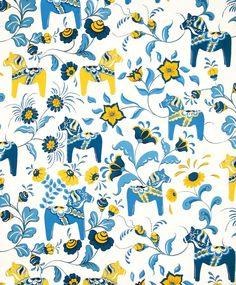 Scandinavian Swedish Dala Horses and Kurbits Flowers on White Fabric with Blue and Yellow Horses by GiftChaletAuburn on Etsy