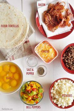 Freezable Breakfast Burritos - Rachel Hollis - and brunch Breakfast Party, Bacon Breakfast, How To Make Breakfast, Freezer Breakfast Burritos, Breakfast Tortilla, Breakfast Ideas, Breakfast Wraps, Breakfast Sandwiches, Breakfast Pancakes