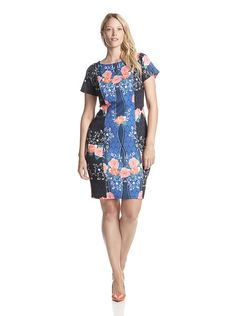ELOQUII Plus Women's Printed Scuba Dress at MYHABIT