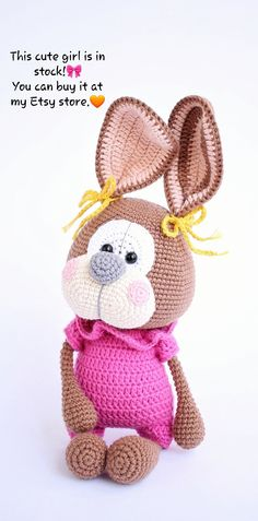 First baby girl toy. Baby Girl Toys, Toys For Girls, Gifts For Girls, Crochet Rabbit, Crochet Toys, Funny Bunnies, First Baby, Handmade Toys, Etsy Store