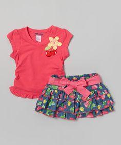 Pink & Chambray Strawberry Tee & Skirt - Toddler & Girls