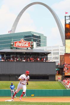 Rounding 3rd. St Louis Cardinals baseball under the Arch.