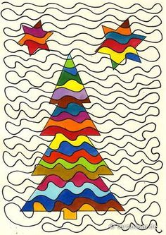 The mega line - Christmas tree - Bastelideen - Noel Christmas Art Projects, Winter Art Projects, Winter Crafts For Kids, School Art Projects, Holiday Crafts, Art For Kids, Snowflakes Art, Noel Christmas, Art Classroom