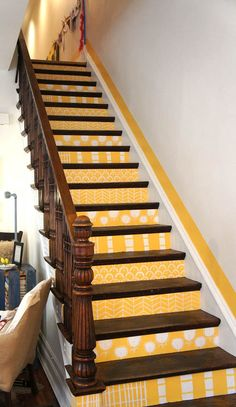 Yellow Stairs/chicago home/design mom Painted Stairs, Painted Floors, Yellow Stairs, Stairs To Heaven, Wallpaper Stairs, House Stairs, Step By Step Painting, Mellow Yellow, Stairways