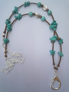 If you have to wear a lanyard at work why not wear a pretty one! From Lanyard Elegance. Lanyard Necklace, Diy Necklace, Lanyard Designs, Beaded Jewelry, Jewelry Necklaces, Beaded Lanyards, Beads And Wire, Making Ideas, Jewelry Crafts