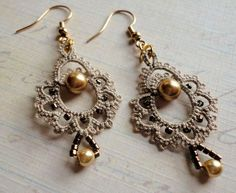 """Giddy"" tatted earrings by yarnplayer, via Flickr"